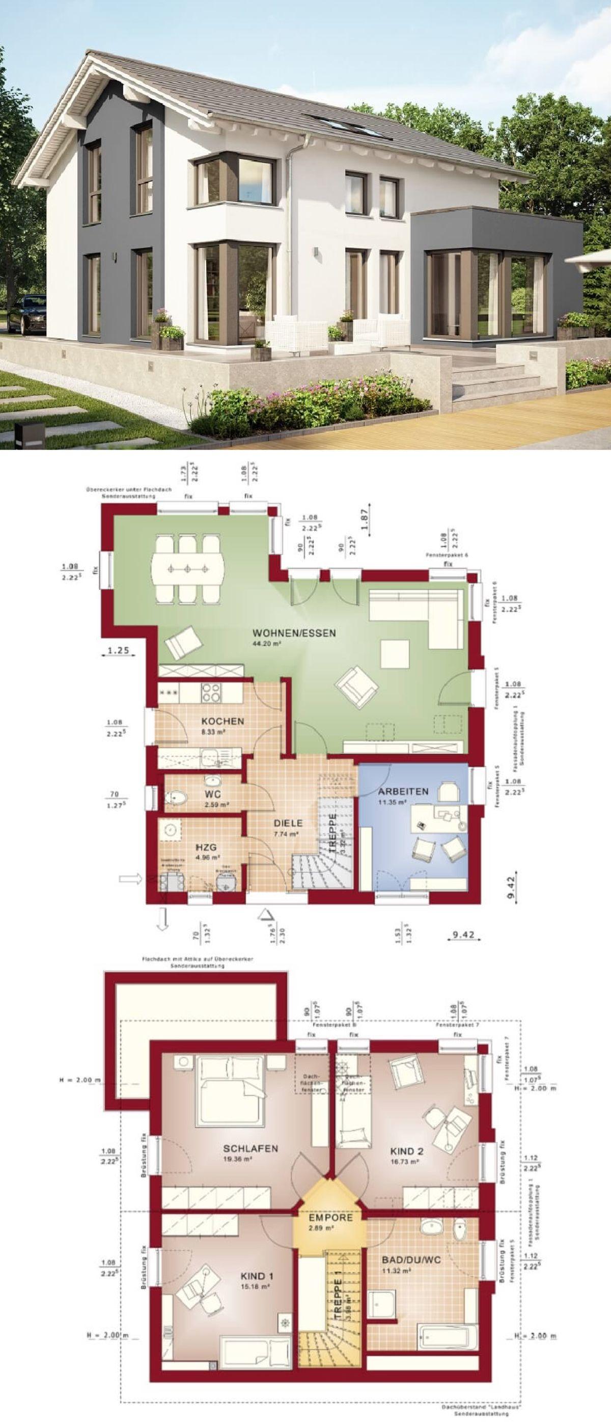 Amazing Einfamilienhaus Architektur Modern Mit Satteldach U0026 Erker Anbau   Haus Bauen  Grundriss Fertighaus Evolution 143 V7