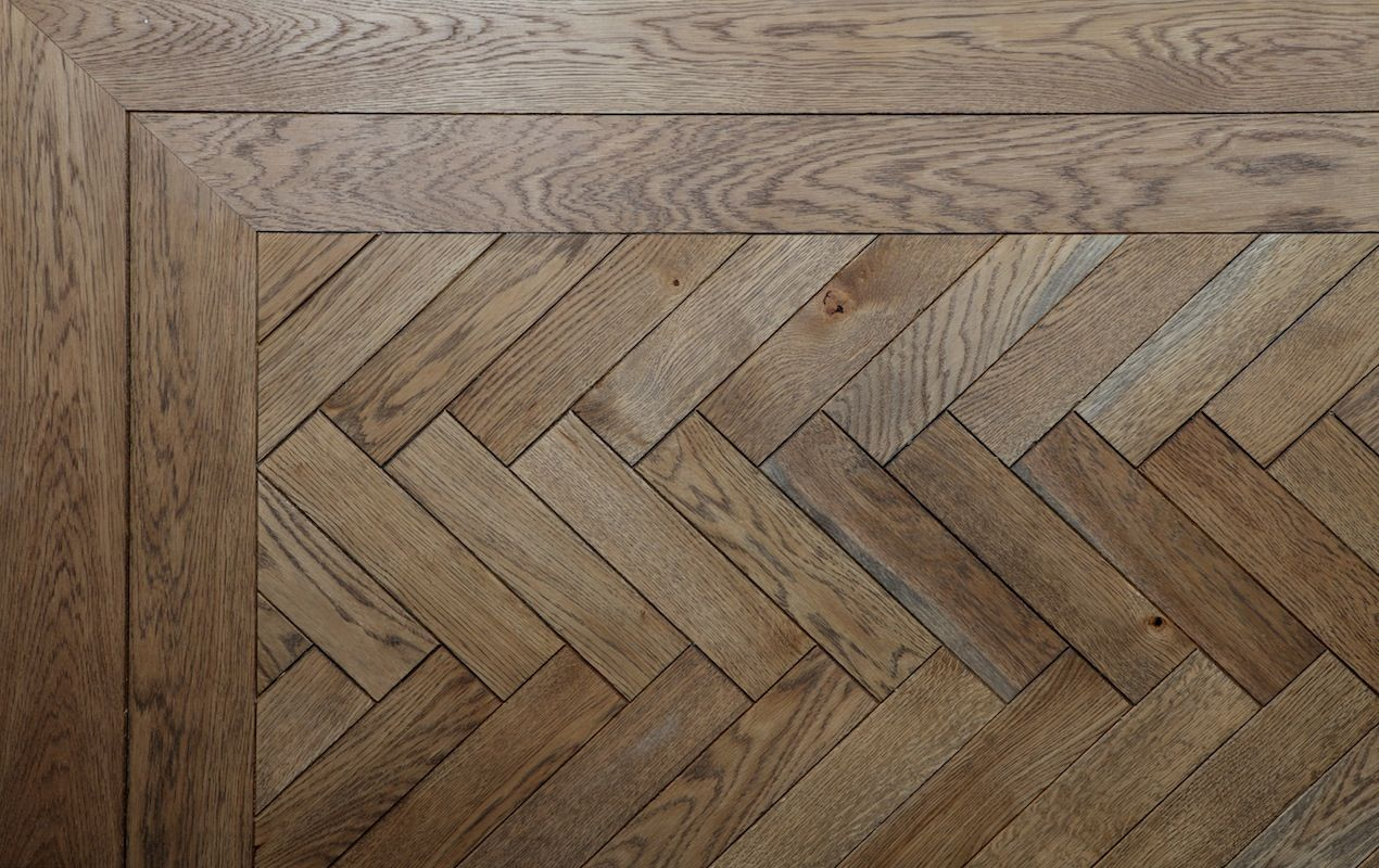 A Herringbone Design Parquet Floor Here Shown With A Double Border Material Oak Stained And Oiled