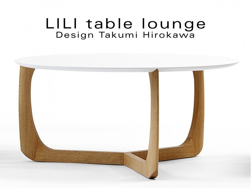 Lili Table Basse Lounge Ronde Pietement Chene Massif Table Basse