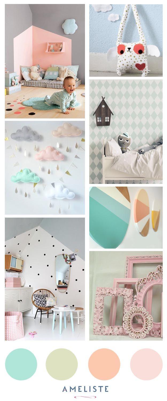 Mood Board nursery room // Baby room pastel // Decoration baby room ...
