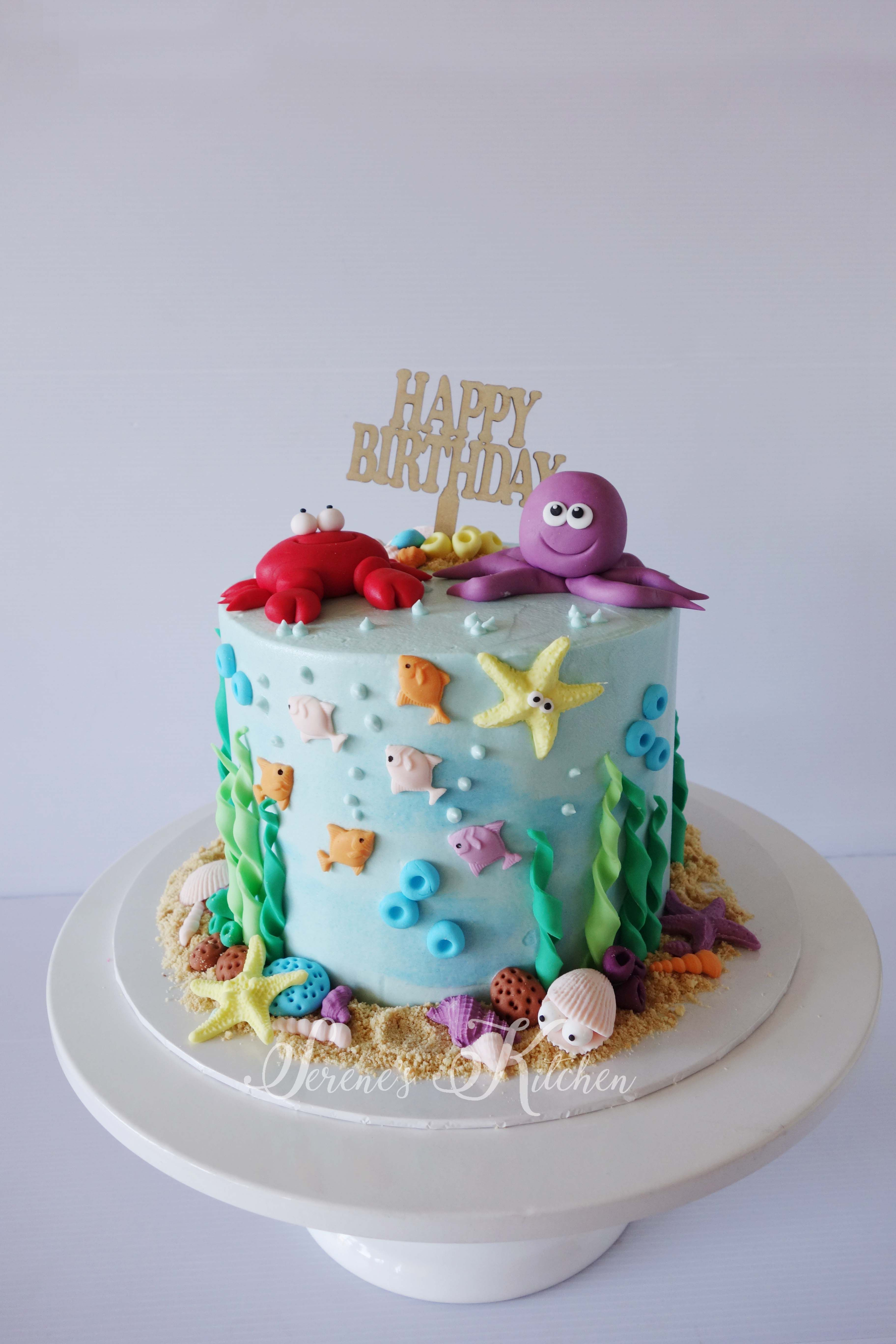 Under The Sea Cake By Serenesskitchen088 Ocean Birthday Cakes First Birthday Cakes Beach Birthday Cake