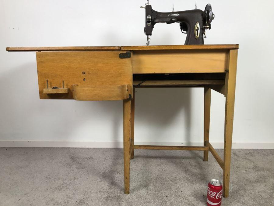 Vintage MidCentury White Rotary Sewing Machine With Cabinet Classy White Rotary Sewing Machine Table