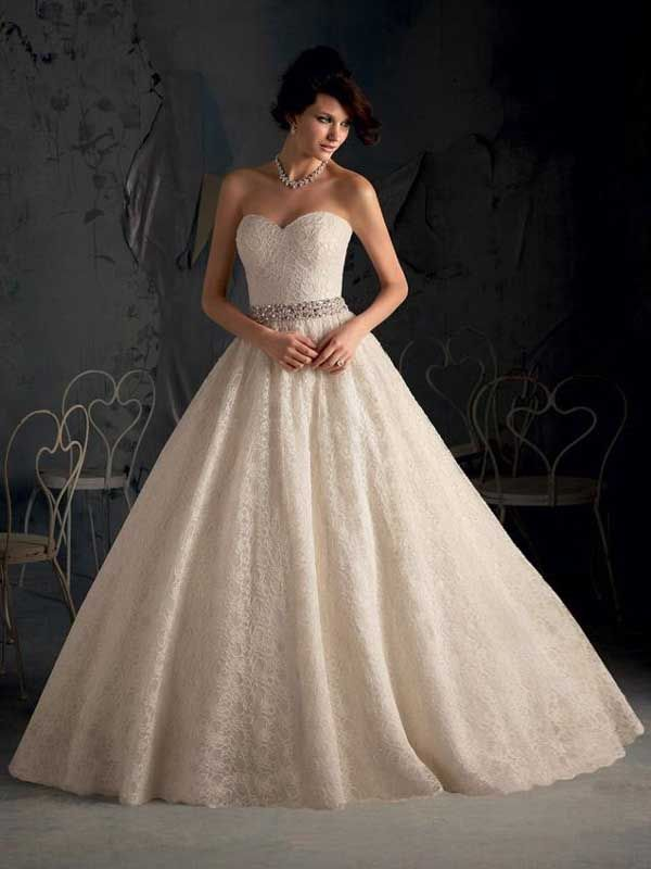 2015 Style A-line Sweetheart Sweep/Brush Train Tulle Wedding Dresses #DS165