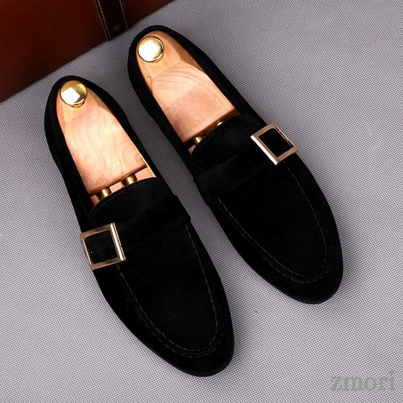 Black Giant Buckle Suede Mens Dappermen Dapper Men Loafers Flats Shoes Dress Shoes Men Black Loafer Shoes Loafers Men