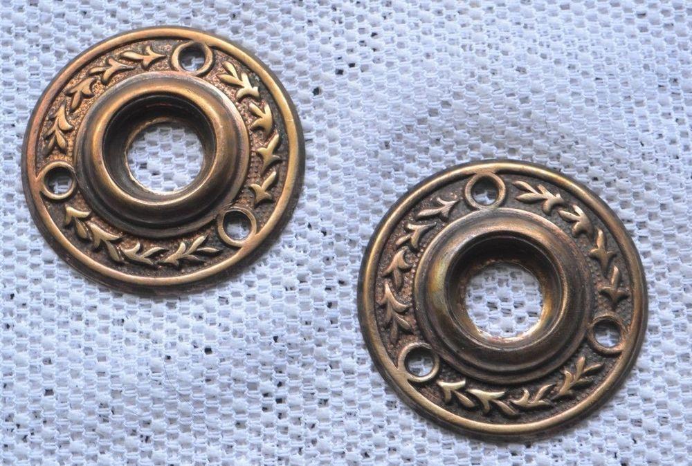 Exceptionnel Door Knob Rosettes (2) Antique Victorian Eastlake Cast Bronze/Brass Knob  Plates