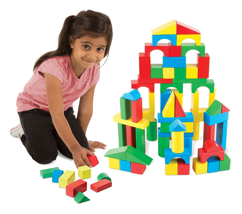 Developmental Toy Melissa /& Doug Wooden Building Blocks Set 100 Blocks in 4...