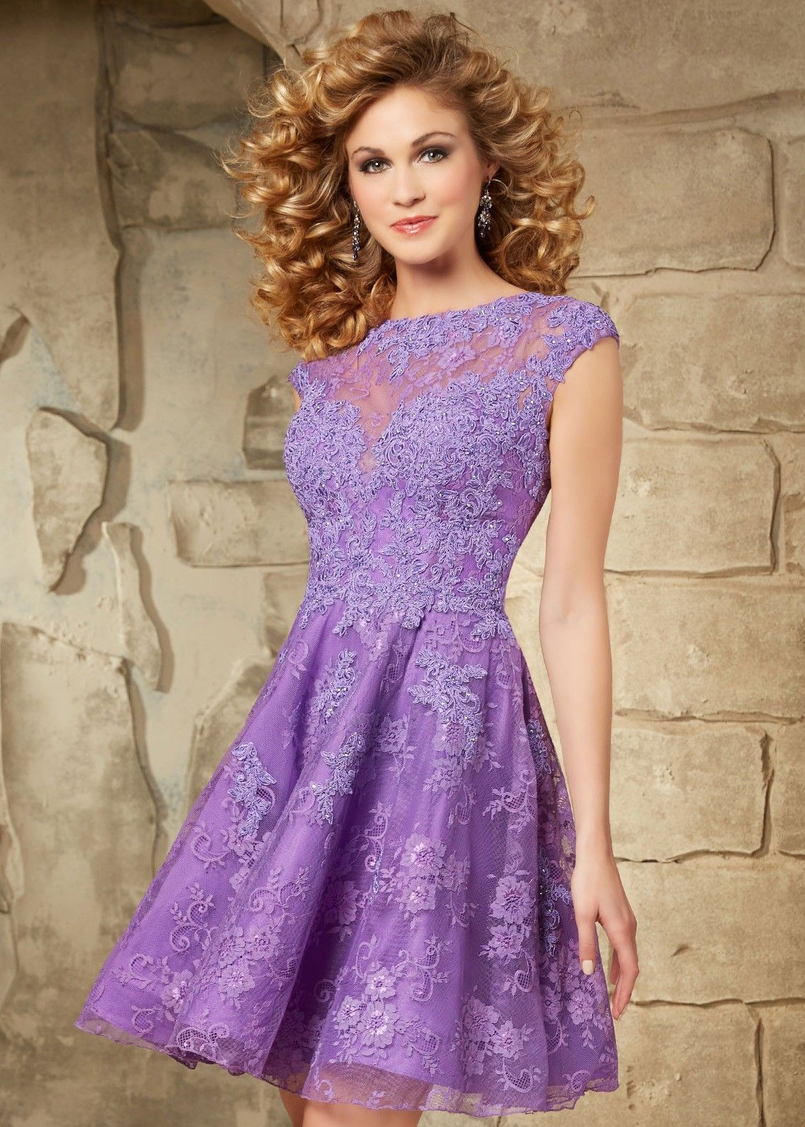 Sticks & Stones by Mori Lee 9343 Cap Sleeve Lace Party Dress ...
