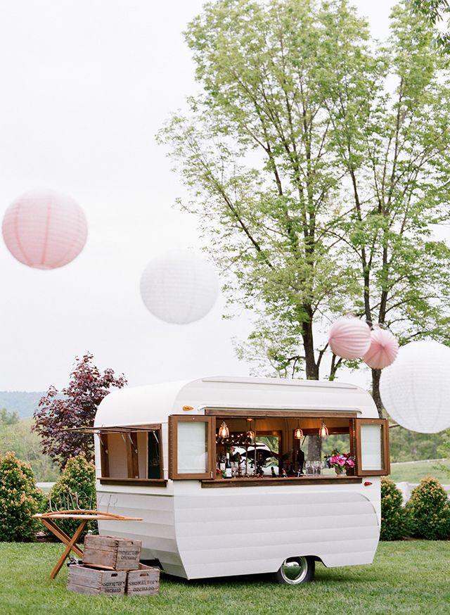 Southern Spring Bbq In Charlottesville Virginia Cozy Mobile Bar For Weddings Or Events Pink And White Paper Lanterns