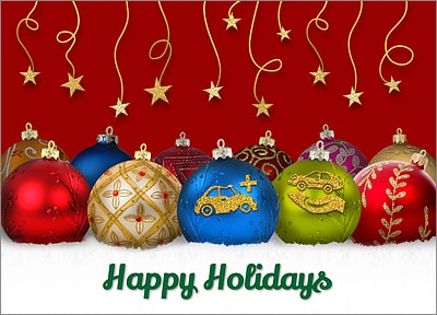 Auto Salvage Ornament Cards Personalized For Your Busines Ornament Card Construction Christmas Cards Company Christmas Cards