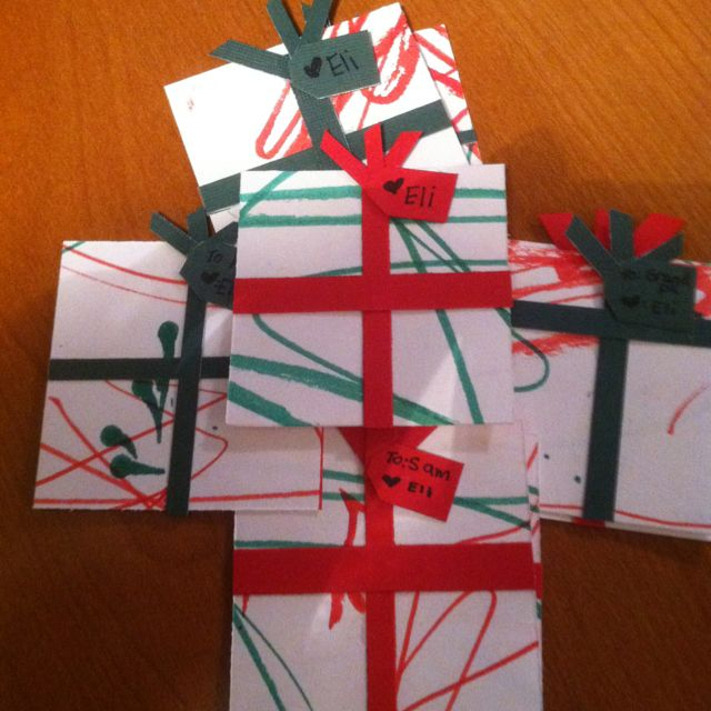 Kids artwork turned into Christmas ornaments. Just add a hook or ribbon loop to the top!