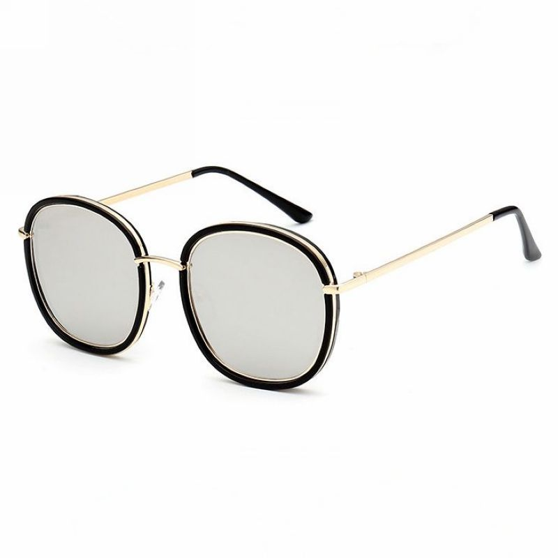 ade64626986 Metal Wire-Trim Acetate Polarized Round Square Sunglasses Black Gold Mirror  Silver