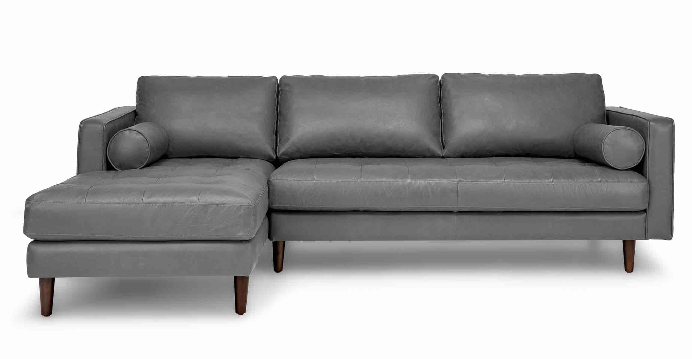Gray Leather Sofa Tufted Seat With Bolsters Article Sven Modern  ~ Grey Leather Tufted Sofa
