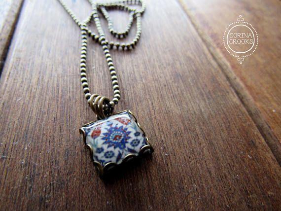 islamic tile necklace turkish tile design islamic jewelry