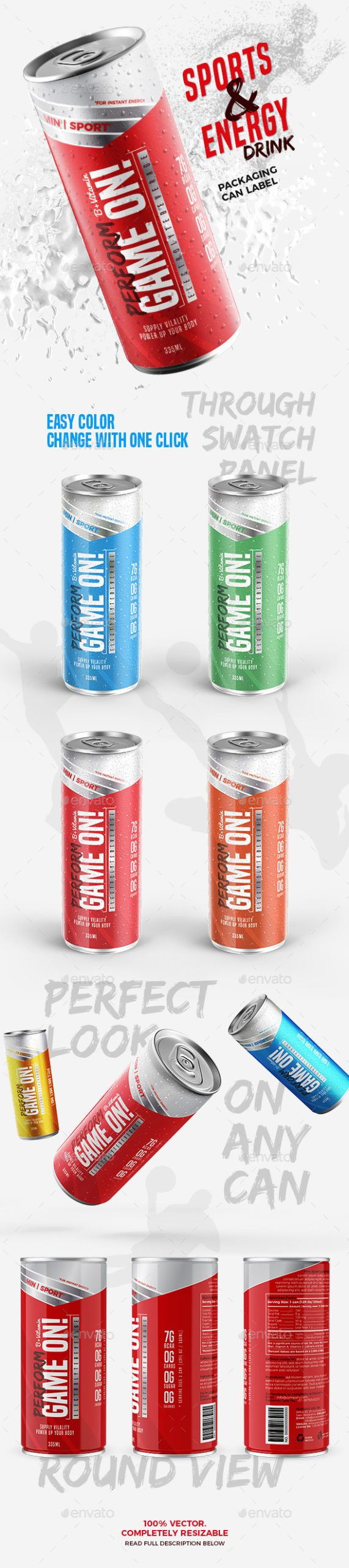 Free Download Energy Sports Drink Packaging Can Label in