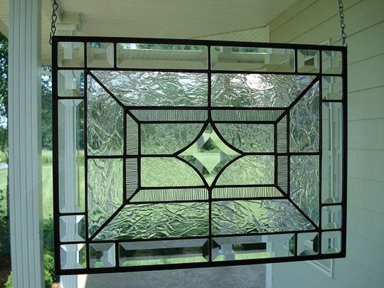 Clearly Lovely Modern Clear Stained Glass Stained Glass Panels Stained Glass Diy Glass Fireplace