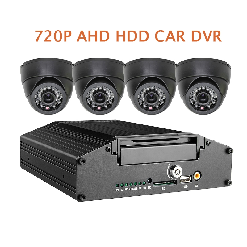 275.80$  Buy now - http://ali7k7.shopchina.info/go.php?t=32793102158 - Free Shipping G-sensor H.264 HDD 4CH 720P AHD Car DVR Mobile Video MDVR Recorder Real time Recording Car Dome In-car Camera Kit  #shopstyle