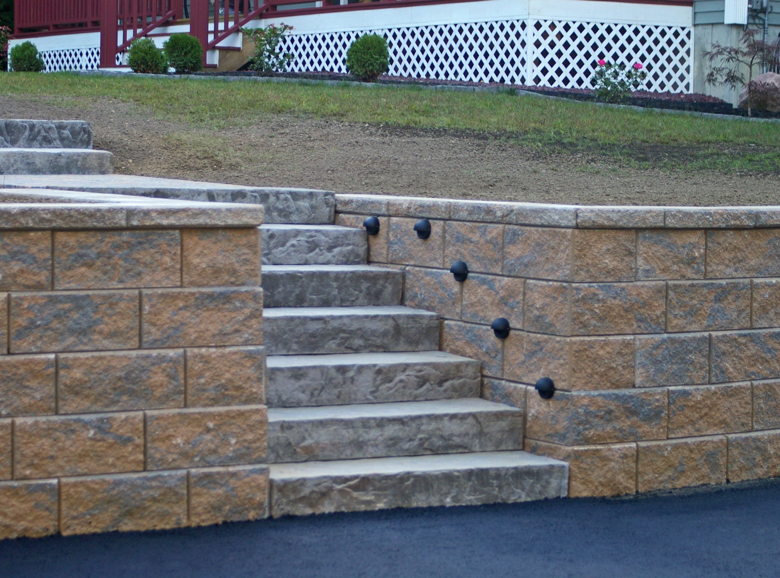 Retaining Wall And Stairs Concrete Retaining Walls Retaining Wall Blocks Stone Retaining Wall