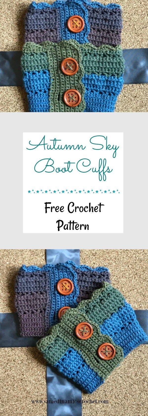 Autumn Sky Boot Cuffs Free Crochet Pattern | Pinterest | Guantes ...