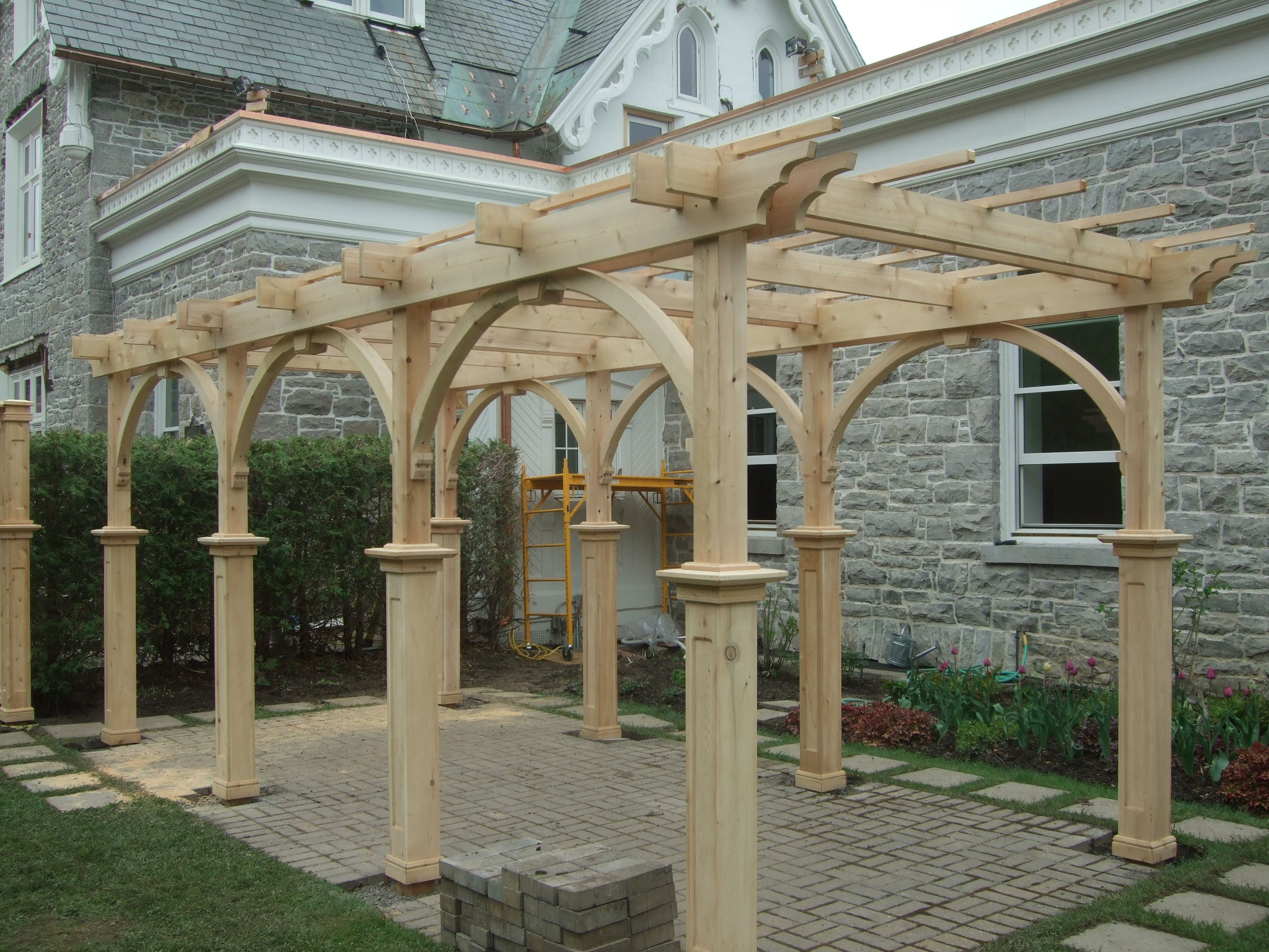 Heritage styled white cedar pergola Supplied and installed by