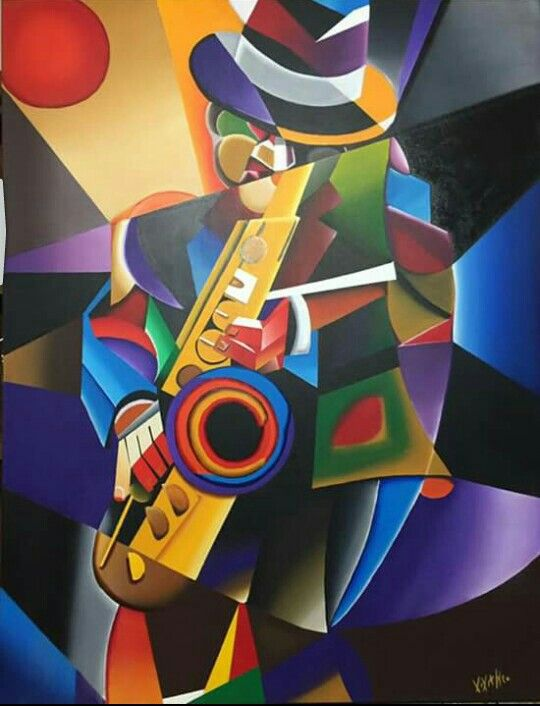 Pin By Mey Caliwagan On Paintings Jazz Painting Musical Art Musician Art