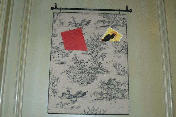Toile Covered Pocket Bulletin Board With Wrought Iron By Dededidit 78 00 Bulletin Boards