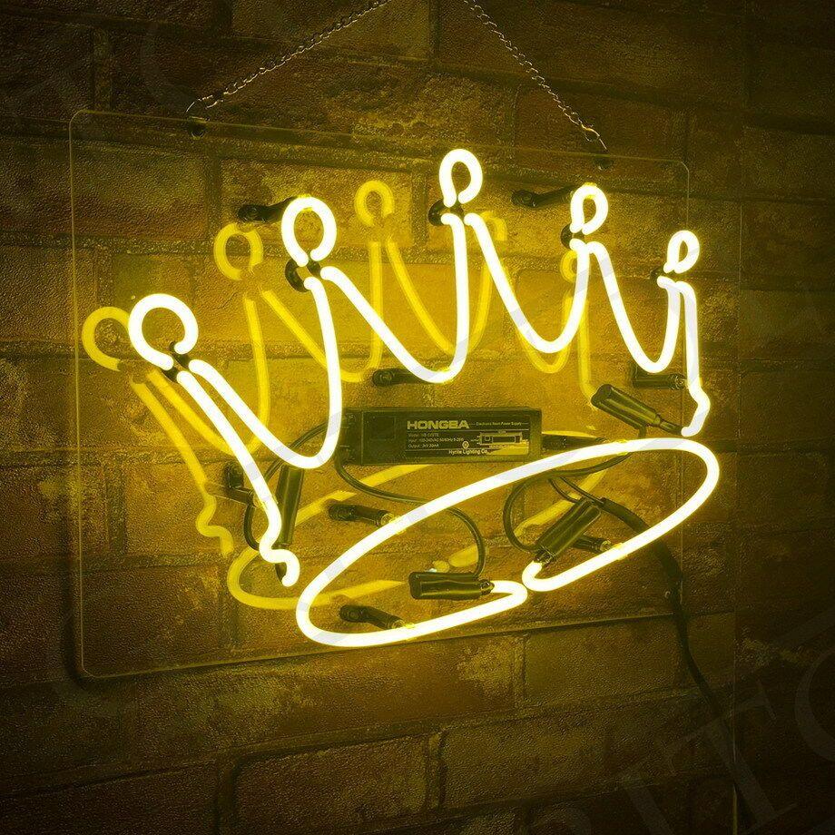 Yellow Crown Shape Neon Sign Light White Color Cloud Man