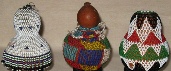 Three Nguni Snuff Gourds South Africa In Africa Gourds Are Mostly Used As Drinking Vessels Or Containers These Three Small Bea Bead Work Gourds Tribal Art