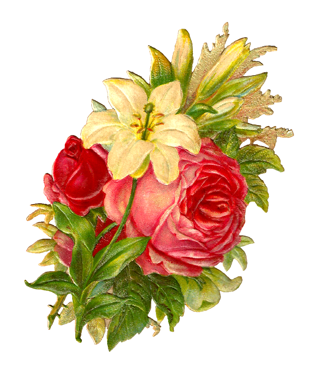 Antique Images: Free Digital Flower Bouquet Images of Red ...