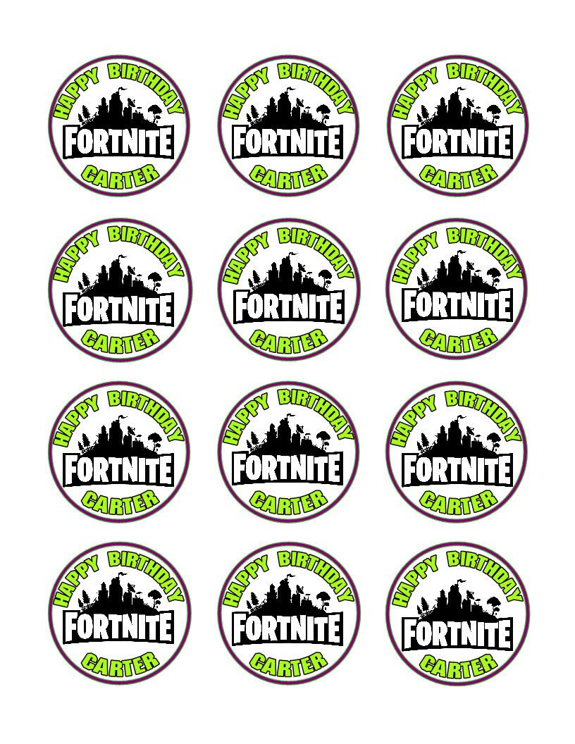 Fortnite logo party decoration edible cupcake images