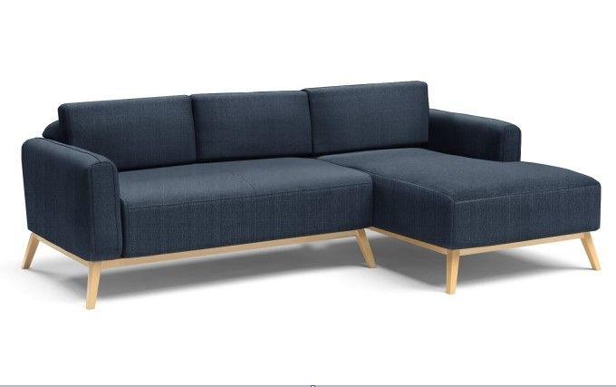 Canapé d angle Talath pied bois inclinés et revªtement tissu