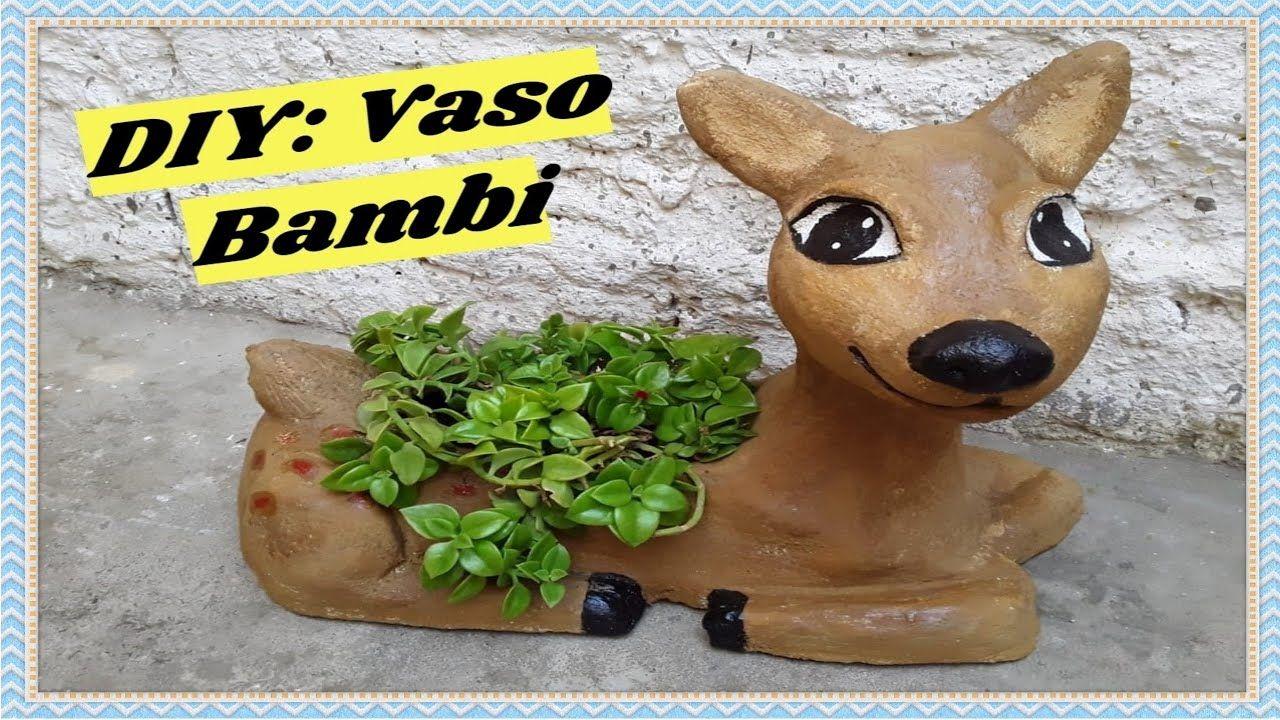 Diy Vaso Bambi De Cimento Cement Bambi Vase Bambi Diy E Cimento