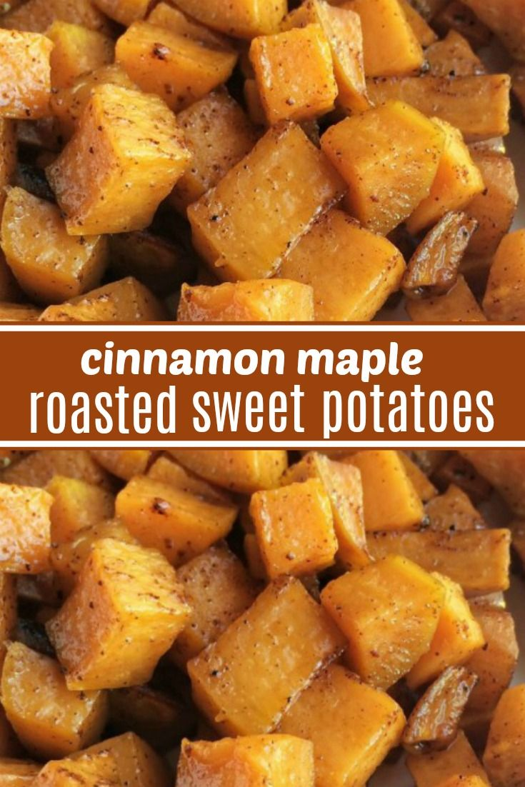 Roasted Maple Cinnamon Sweet Potatoes   Roasted Sweet Potatoes   Side Dish Recipe   Roasted sweet potatoes are a healthier side dish for dinner or Thanksgiving. Diced sweet potatoes are covered in a delicious marinade of olive oil, real maple syrup, spices, cinnamon and roasted to perfection in the oven. #sidedish #thanksgivingrecipe #thanksgiving #sweetpotatoes #easyrecipe #healthy #thanksgivingrecipessidedishes