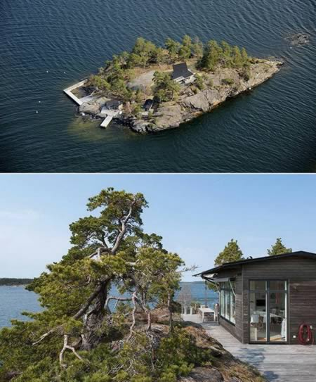 This amazing residence stands on the highest site of a mesmerizing island located several miles away from Stockholm, Sweden. Stretching out in an area of 137 square meters, the main building includes a beautiful living room, a guest room, with a kitchen and glass doors leading out to large a bridge deck, a sauna and much more. But more important, you won't be disturbed by neighbors.