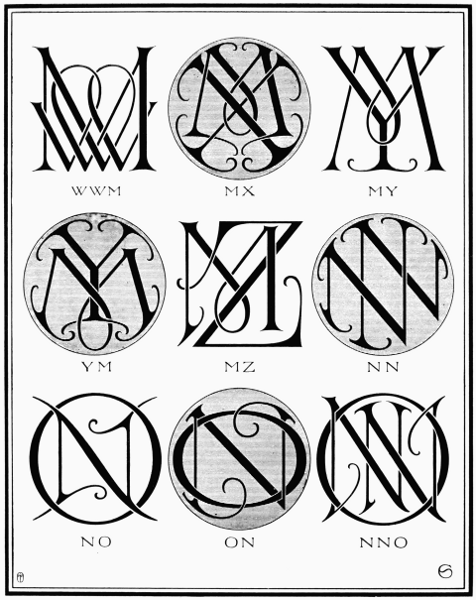 PLATE XCI—MW, MX, MY, MZ, NN, NO | sections | Monogram, Initials
