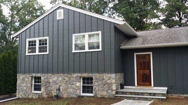 Board And Batten Style Siding House Www Houzz Com Board And Batten Exterior Wood Siding Exterior Wood Siding