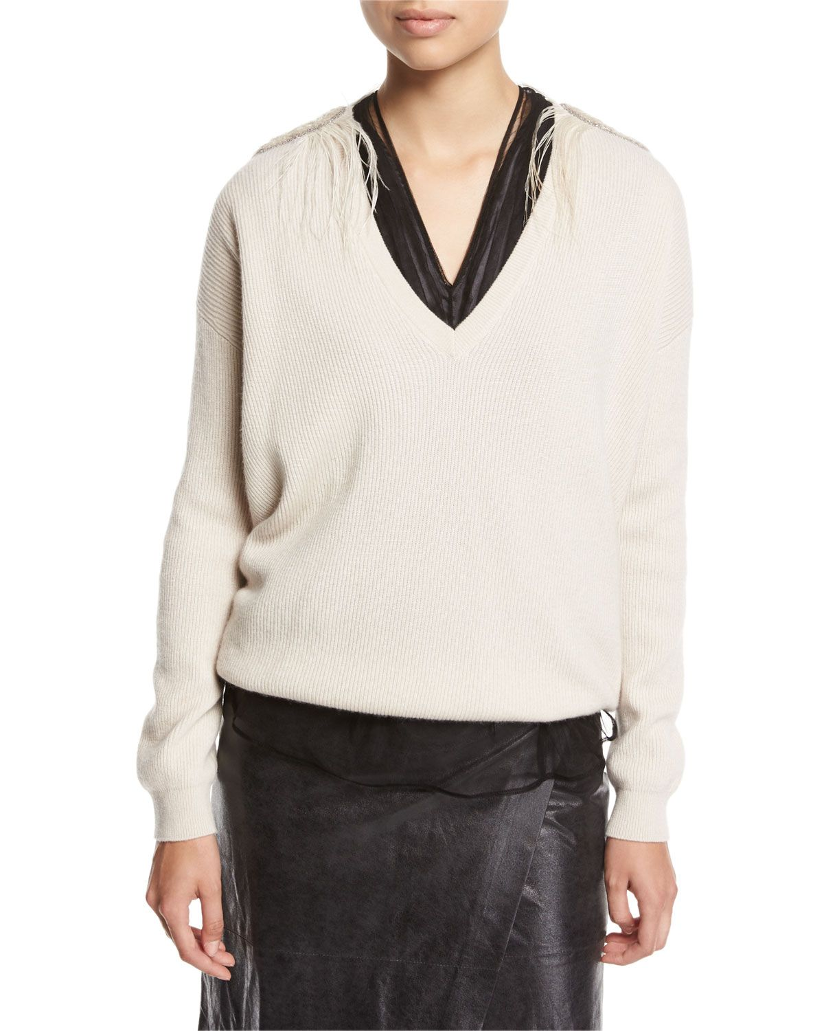 Cashmere V-Neck Boyfriend Sweater with Feather Trim | Products