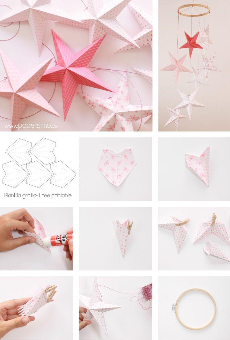 Estrellas de papel para movil de techo paper stars - Papel para techos ...