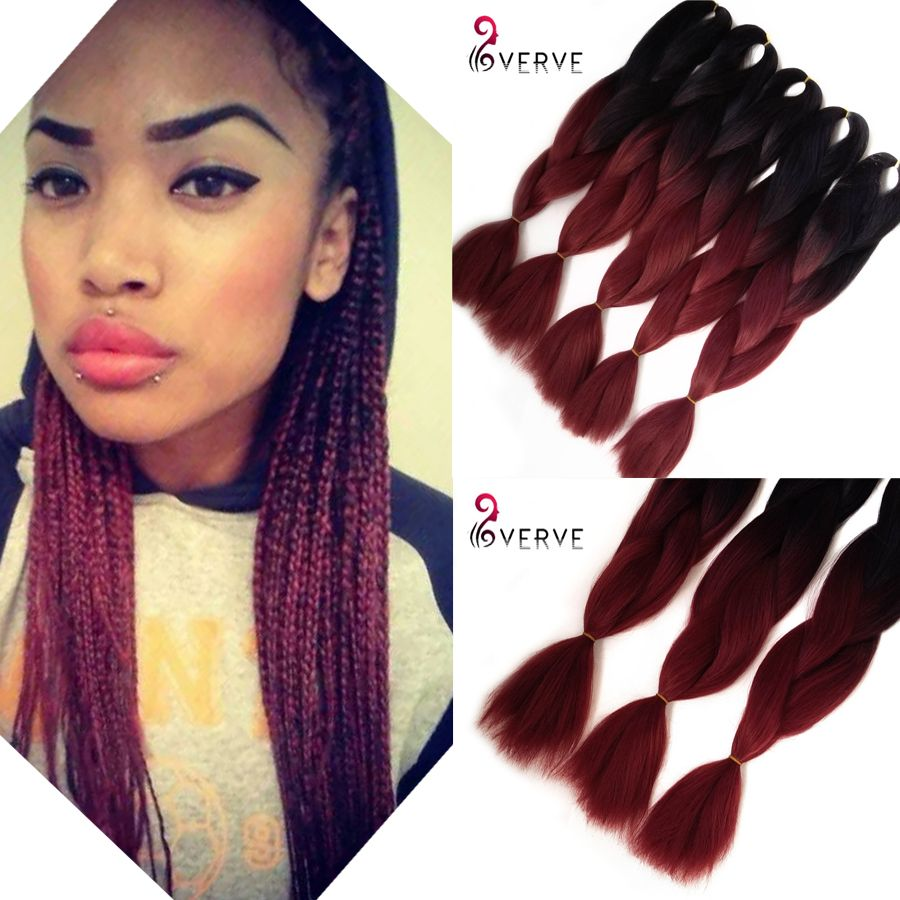 Wholesale Amaze Burgundy Ombre African Box Hair Braiding Expression