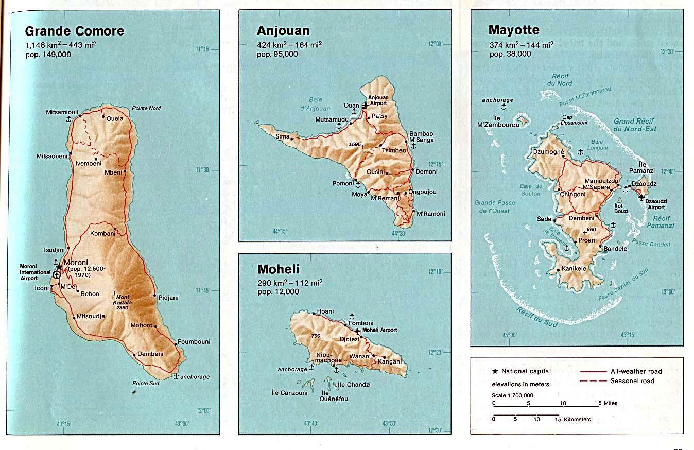 Comoros Islands Map See map details | Madagascar, Seychelles