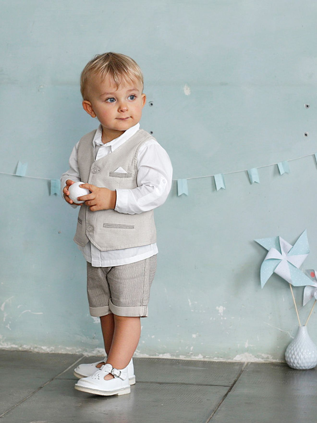 b079716844618 Ensemble bébé garçon chemise + gilet sans manche + bermuda gris p‰le -  Vertbaudet
