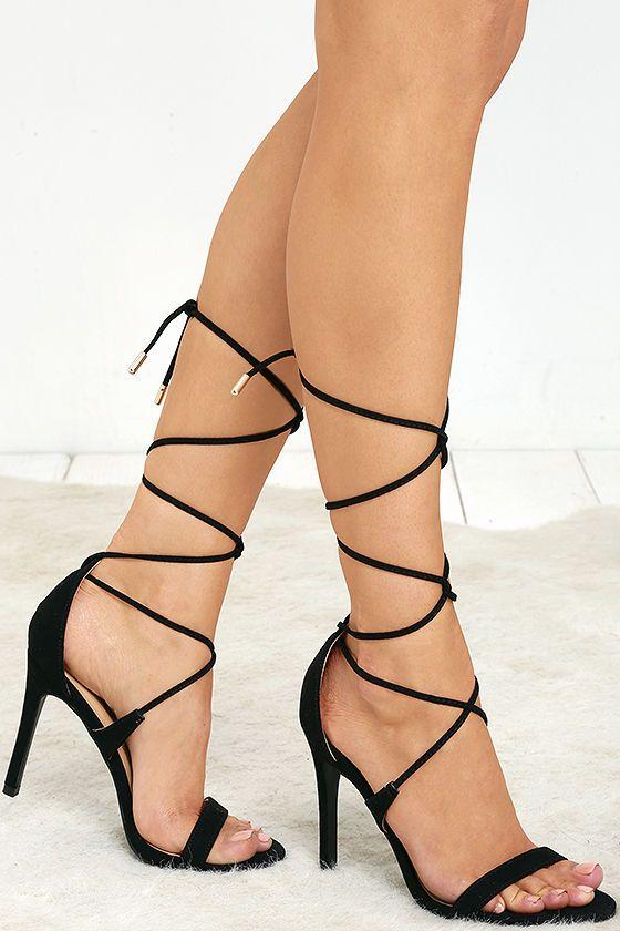 Black Suede Lace-Up Heels