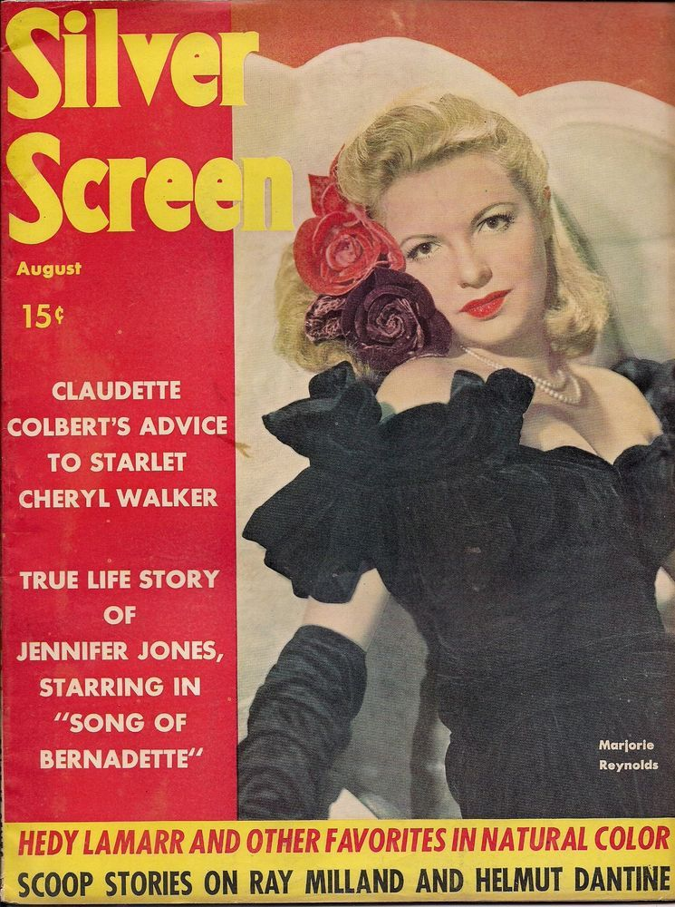 """Marjorie Reynolds on the front cover of """"Silver Screen"""" magazine, USA, August 1943."""
