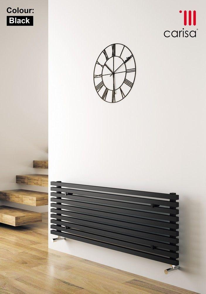 Designer Living Room Radiators: CARISA SOPHIA XL BLACK HORIZONTAL DESIGNER RADIATORS