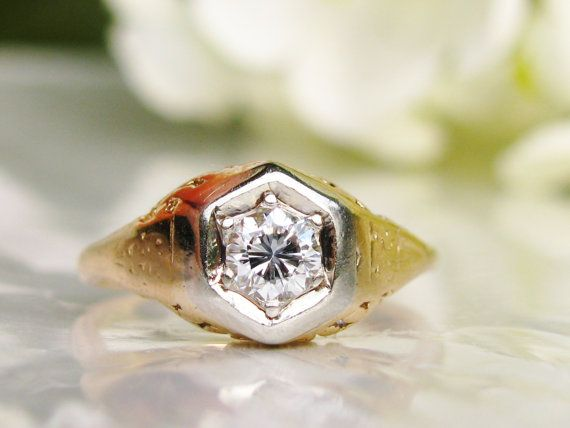 Art Deco Engagement Ring Antique by LadyRoseVintageJewel on Etsy