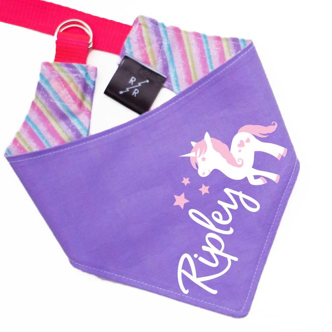 Limited Edition: Personalized Unicorn Dog Bandana Rainbow Reversible