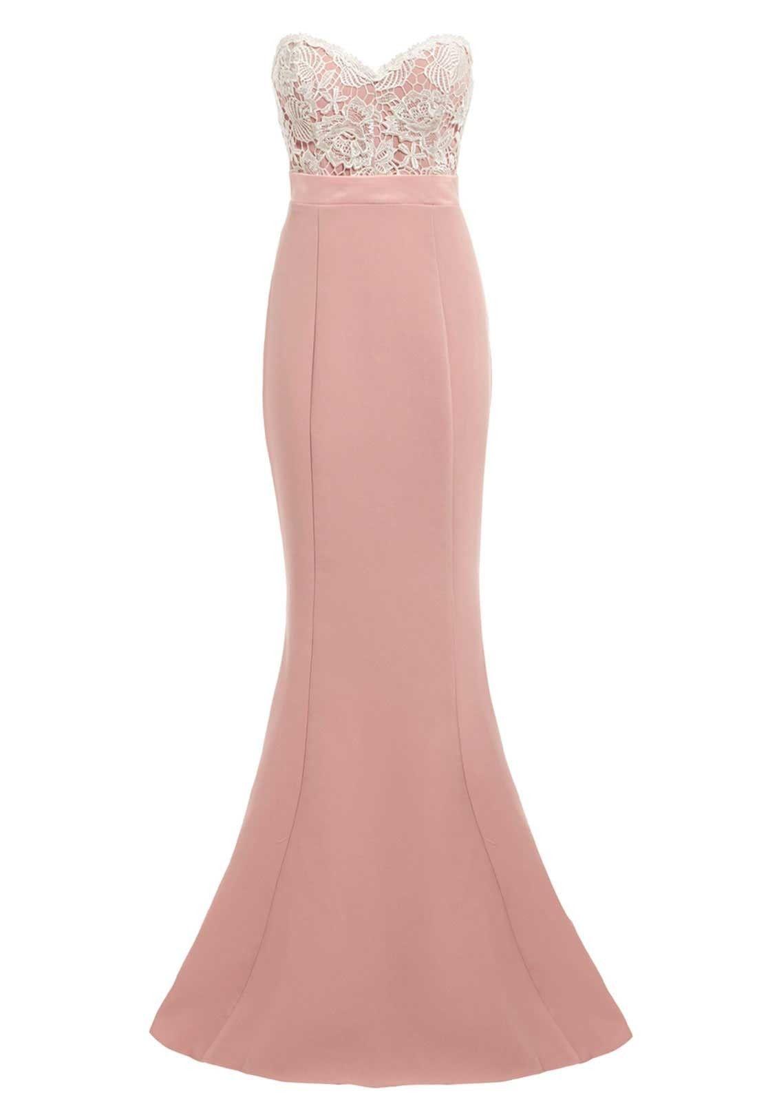 Elle Zeitoune Kiara Strapless Lace Bust Maxi Dress in Blush ...