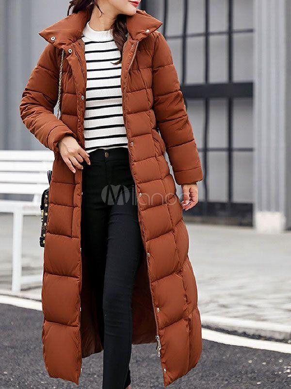 87def6463 Women Puffer Coat Removable Faux Fur Collar Hooded Coat Longline ...