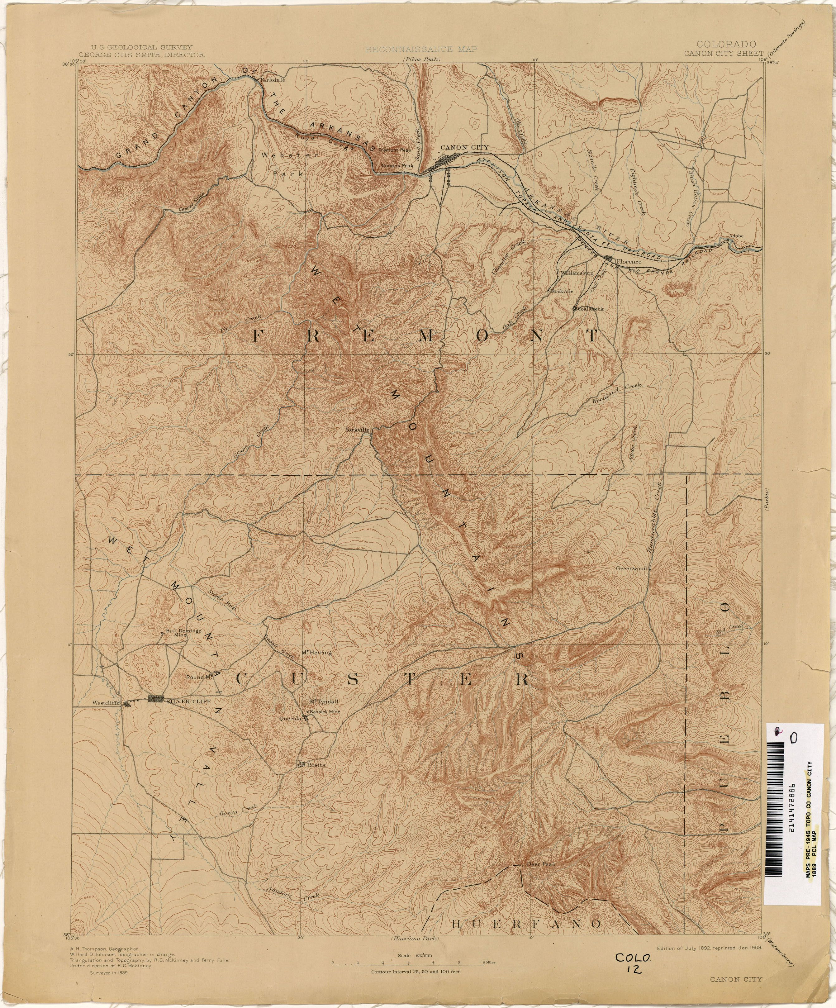 Historical Topographic map of Canon City, Co, 1889.   Antique ... on