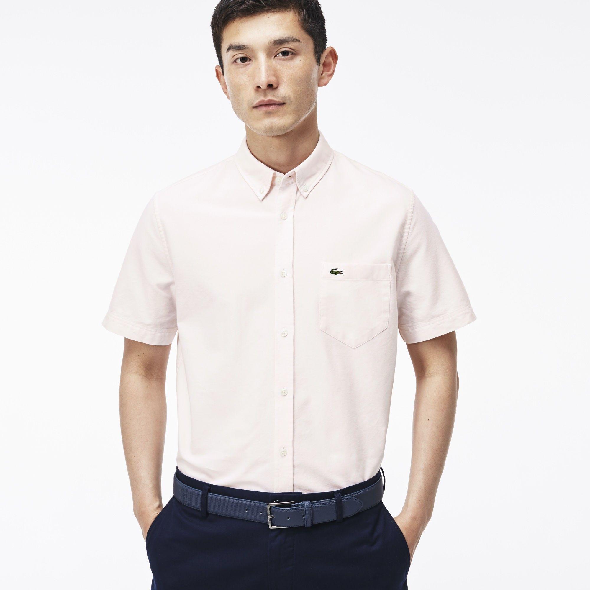 LACOSTE Men'S Oxford Cotton Shirt - Silk Pink/White. #lacoste #cloth #