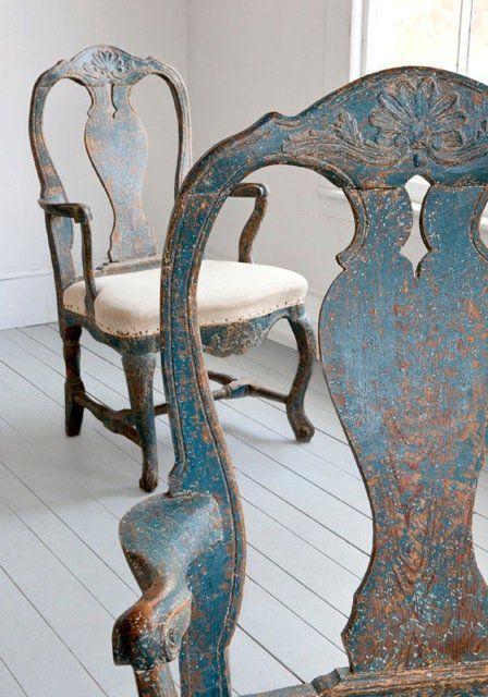 Beautiful Distressed Shabby Vintage Blue Swedish Chairs